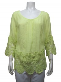 Blouse, 3/4 Sleeve, W/ Crochet, UNIQUE # 31078
