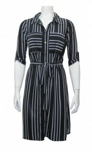 Dress Printed , W/ Roll Up Sleeve & Collar , Stretch & Front Tie,  GBL # 25193