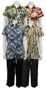 2pc Capri Set, Tunic , Button Down W/ Front Tie and Printed Top, SHERRY # 86703