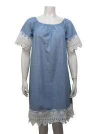 Dress Cotton, S. Sleeve W/ Lace, GABRIEL # 67377
