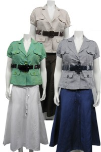 2pc skirt set plus size, linen type, with lined skirt and a belt sherry# 89355