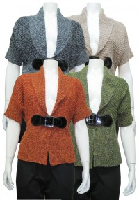 Sweater, S.Sleeve W/ Buckle & Shawl Collar, DH # MC211