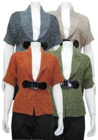 Sweater, S.Sleeve W/ Buckle & Shawl Collar, DH # MC211