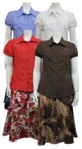 2pc Skirt Set,Linen, S.Sleeve, Button Down W/ Print, SHERRY# 82601