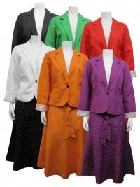 2pc Skirt Set, Full Lining, Linen, L.Sleeve W/ Polkadot Skirt, SHERRY# 84531