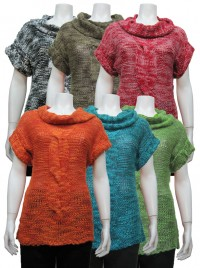 Sweater , S.Sleeve, Cowl Neck W/ Cables, DH # MP134