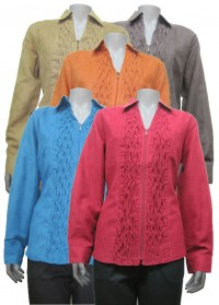 blouse, long sleeve, suede type, front zipper, LGS # 1708