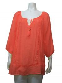 Blouse, Plus Size , 3/4 Sleeve , W/ Lace, UNIQUE # 37107