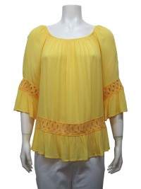 Blouse 3/4 Sleeve, W/ Embroidery,  UNIQUE # 22895