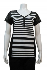 Blouse, Stripe, S/Sleeve W/ Mesh, MIRA #5380C00