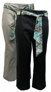 Capri, Cotton, Stretch W/ Back Pockets and Tie, LVN# JA6