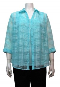 Blouse 2pc, Burnout, 3/4 Sleeve, Button Down, EKA # 5641