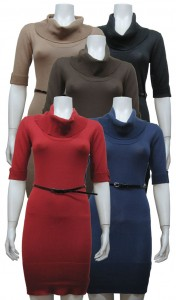 Sweater Dress, Cowl Neck, Elbow Sleeve W/ Belt, DH # JD108