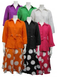 2pc Skirt Set, Linen Type, 3/4 Sleeve, Button Down W/ Tie and Printed Skirt, SHERRY # 89351