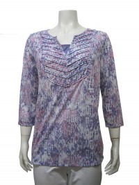 Blouse, 3/4 Sleeve, Burnout Fabric, Printed, Stretch  ERIKA # 6730