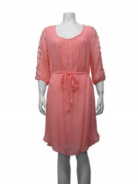 Dress, 3/4 Sleeve, W/ Crochet Sleeve, Front Tie & Lining, GABRIEL# 44023