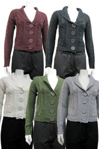 sweater with patch pockets and cabels, button down dh# 098 