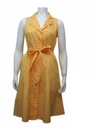 Dress, Sleeveless, Cotton, Printed, Button Down, W/ Side Pockets & a Tie, GBL # 83014