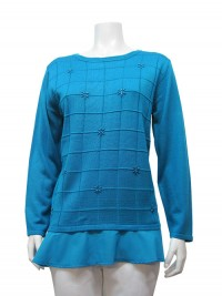 Sweater, W/ Chiffon & Sequence, JENNY # 8130