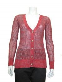 Sweater , Cardigan , Two Ton Open Stitch, RED PAINT # 6021