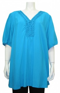 Blouse, Plus Size , V-Neck, Short Sleeve, MIL # 1186