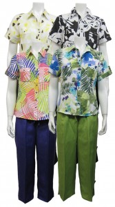 2pc Capri set, S.Sleeve, Button Down, Printed Top W/ Pockets, SHERRY# 83061