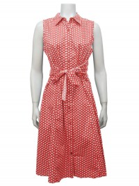 Dress, Sleeveless, Polka Dots, Button Down W/ Front Tie, GABRIEL # 44210