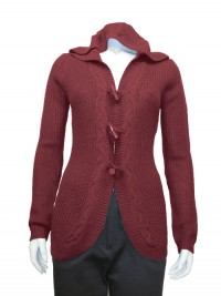 Sweater , Hoodie , Cardigan , W/ Cables & Novelty Buttons, RED PAINT # 6057