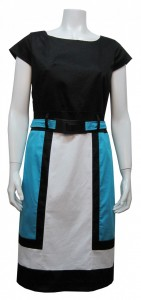 Dress, Color Block, W/ Lining, Stretch, & Belt, JFR # 3930S19