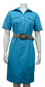 Dress W/ Belt, Buttons & Pockets, Stretch, S. Sleeve, SGO # 12915