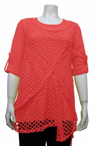 Blouse, 3/4 Sleeve, Rolled Up Sleeve, W/ Mesh, KTS # 35064