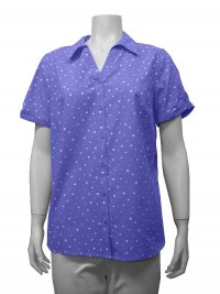 Blouse, S.Sleeve, Button Down, Polka Dots,  ERIKA # 7759