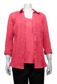Blouse, 2pc, Burnout, Long Sleeve, Button Down, EKA # 5628