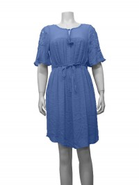 Dress S/Sleeve W/ Crochet Sleeve, Front Tie & Lining, GABRIEL # 44018