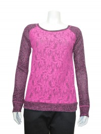 Blouse, Scoop Neck, W/ Lace Panel , Long Sleeve, RED PAINT # 6107